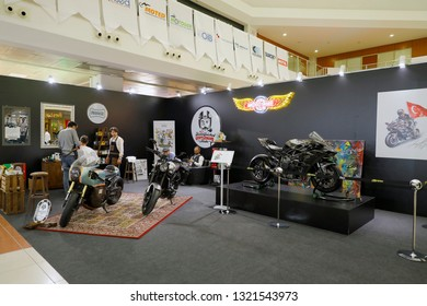 ISTANBUL, TURKEY - FEBRUARY 24, 2019: Barber shop exhibition stand on display at Motobike Istanbul in Istanbul Exhibition Center