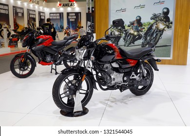 ISTANBUL, TURKEY - FEBRUARY 24, 2019: Bajaj V15 on display at Motobike Istanbul in Istanbul Exhibition Center