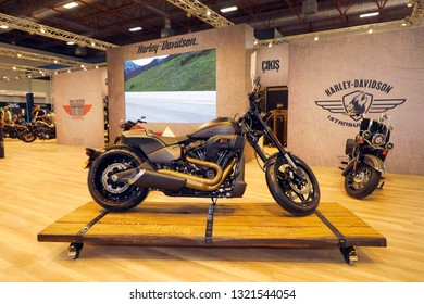ISTANBUL, TURKEY - FEBRUARY 24, 2019: Harley Davidson FXDR 114 on display at Motobike Istanbul in Istanbul Exhibition Center
