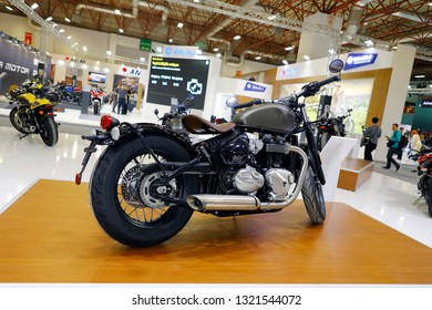 ISTANBUL, TURKEY - FEBRUARY 24, 2019: Triumph Bobber Bonneville 1200 on display at Motobike Istanbul in Istanbul Exhibition Center