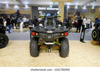 ISTANBUL, TURKEY - FEBRUARY 24, 2019: can-am BRP Outlander on display at Motobike Istanbul in Istanbul Exhibition Center