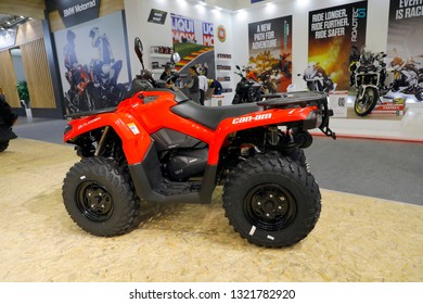 ISTANBUL, TURKEY - FEBRUARY 24, 2019: can-am BRP Outlander 450 4x4 on display at Motobike Istanbul in Istanbul Exhibition Center