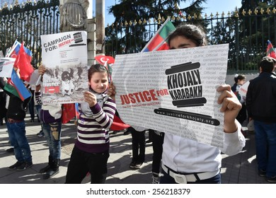 ISTANBUL, TURKEY - FEBRUARY 24: Turkish and Azeri citizen protest Khojaly (Hocali) genocide children in Taksim Square on February 24, 2015 in Istanbul, Turkey