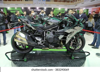 ISTANBUL, TURKEY - FEBRUARY 25, 2016: Kawasaki Ninja H2 on display at Moto Bike Expo in Istanbul Exhibition Center
