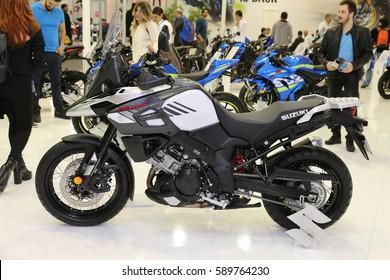 ISTANBUL, TURKEY - FEBRUARY 25, 2017: Suzuki V-Strom DL1000 on display at Motobike Istanbul in Istanbul Exhibition Center