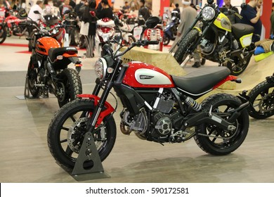 ISTANBUL, TURKEY - FEBRUARY 25, 2017: Ducati Scrambler on display at Motobike Istanbul in Istanbul Exhibition Center
