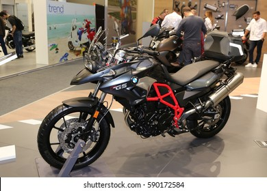 ISTANBUL, TURKEY - FEBRUARY 25, 2017: BMW F 700 GS on display at Motobike Istanbul in Istanbul Exhibition Center