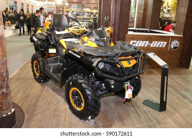 ISTANBUL, TURKEY - FEBRUARY 25, 2017: Can-Am Outlander on display at Motobike Istanbul in Istanbul Exhibition Center