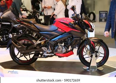 ISTANBUL, TURKEY - FEBRUARY 25, 2017: Bajaj Pulsar NS160 on display at Motobike Istanbul in Istanbul Exhibition Center