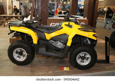 ISTANBUL, TURKEY - FEBRUARY 25, 2017: Can-Am Outlander L on display at Motobike Istanbul in Istanbul Exhibition Center