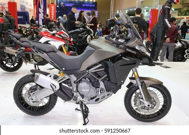 ISTANBUL, TURKEY - FEBRUARY 25, 2017: Ducati Multistrada 1200 Enduro on display at Motobike Istanbul in Istanbul Exhibition Center