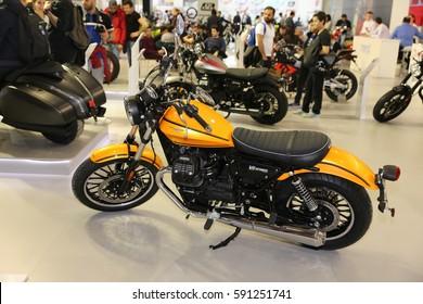 ISTANBUL, TURKEY - FEBRUARY 25, 2017: Moto Guzzi V9 Roamer on display at Motobike Istanbul in Istanbul Exhibition Center
