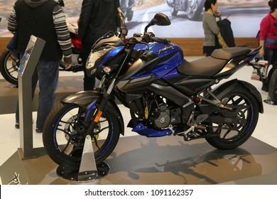 ISTANBUL, TURKEY - FEBRUARY 25, 2018: Bajaj Pulsar NS160 on display at Motobike Istanbul in Istanbul Exhibition Center