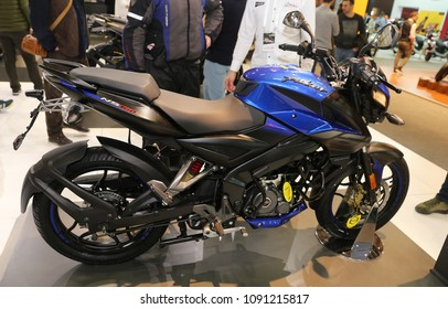 ISTANBUL, TURKEY - FEBRUARY 25, 2018: Bajaj Pulsar NS160 on display at Motobike Istanbul in Istanbul Exhibition Center
