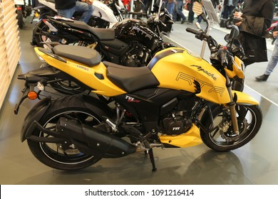 ISTANBUL, TURKEY - FEBRUARY 25, 2018: TVS Apache RTR 200 on display at Motobike Istanbul in Istanbul Exhibition Center