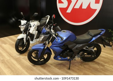 ISTANBUL, TURKEY - FEBRUARY 25, 2018: Sym Wolf SB250NI on display at Motobike Istanbul in Istanbul Exhibition Center