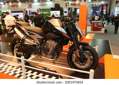 ISTANBUL, TURKEY - FEBRUARY 25, 2018: KTM 790 Duke on display at Motobike Istanbul in Istanbul Exhibition Center