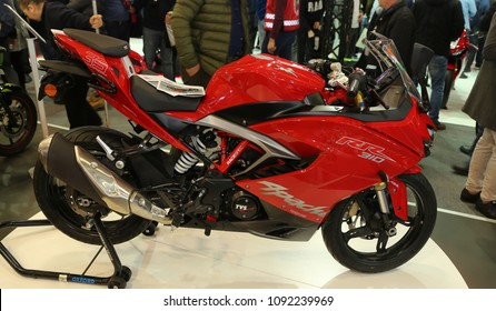 ISTANBUL, TURKEY - FEBRUARY 25, 2018: TVS Apache RR 310 on display at Motobike Istanbul in Istanbul Exhibition Center
