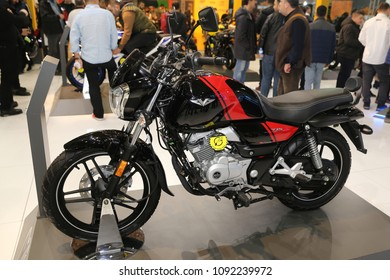 ISTANBUL, TURKEY - FEBRUARY 25, 2018: Bajaj V15 on display at Motobike Istanbul in Istanbul Exhibition Center