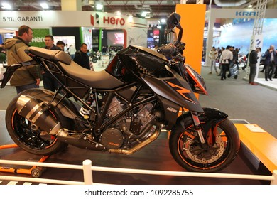 ISTANBUL, TURKEY - FEBRUARY 25, 2018: KTM 1290 Super Duke R on display at Motobike Istanbul in Istanbul Exhibition Center