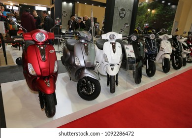 ISTANBUL, TURKEY - FEBRUARY 25, 2018: Scooters on display at Motobike Istanbul in Istanbul Exhibition Center