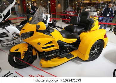 ISTANBUL, TURKEY - FEBRUARY 25, 2018: Honda Gold Wing on display at Motobike Istanbul in Istanbul Exhibition Center