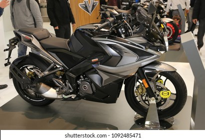 ISTANBUL, TURKEY - FEBRUARY 25, 2018: Bajaj Pulsar RS200 on display at Motobike Istanbul in Istanbul Exhibition Center