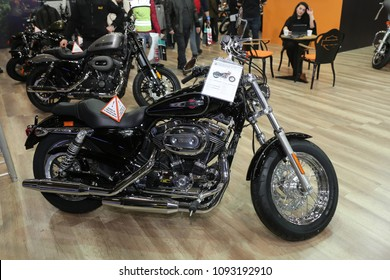 ISTANBUL, TURKEY - FEBRUARY 25, 2018: Harley-Davidson Motorcycle on display at Motobike Istanbul in Istanbul Exhibition Center