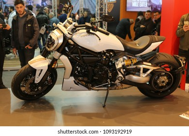 ISTANBUL, TURKEY - FEBRUARY 25, 2018: Ducati XDiavel S on display at Motobike Istanbul in Istanbul Exhibition Center