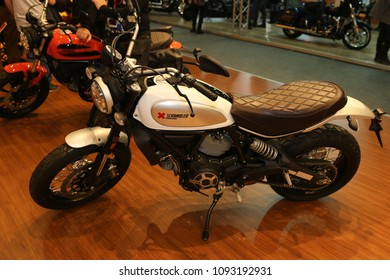 ISTANBUL, TURKEY - FEBRUARY 25, 2018: Ducati Scrambler on display at Motobike Istanbul in Istanbul Exhibition Center
