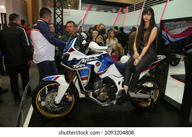 ISTANBUL, TURKEY - FEBRUARY 25, 2018: Honda Africa Twin on display at Motobike Istanbul in Istanbul Exhibition Center