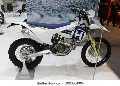 ISTANBUL, TURKEY - FEBRUARY 25, 2018: Husqvarna FE 350 on display at Motobike Istanbul in Istanbul Exhibition Center