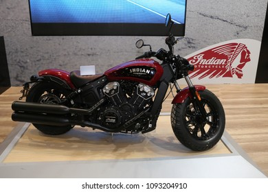ISTANBUL, TURKEY - FEBRUARY 25, 2018: Indian Scout on display at Motobike Istanbul in Istanbul Exhibition Center