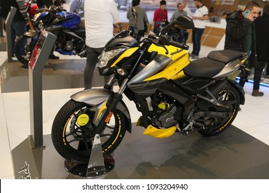 ISTANBUL, TURKEY - FEBRUARY 25, 2018: Bajaj Pulsar NS200 on display at Motobike Istanbul in Istanbul Exhibition Center
