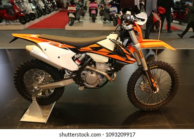 ISTANBUL, TURKEY - FEBRUARY 25, 2018: KTM 350 EXC on display at Motobike Istanbul in Istanbul Exhibition Center