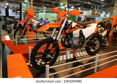 ISTANBUL, TURKEY - FEBRUARY 25, 2018: KTM 250 EXC on display at Motobike Istanbul in Istanbul Exhibition Center