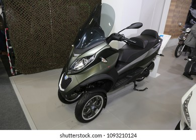 ISTANBUL, TURKEY - FEBRUARY 25, 2018: Piaggio 300ie on display at Motobike Istanbul in Istanbul Exhibition Center
