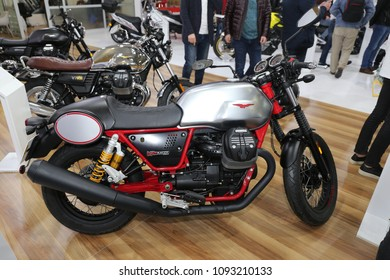ISTANBUL, TURKEY - FEBRUARY 25, 2018: Moto Guzzi V7 iii Racer on display at Motobike Istanbul in Istanbul Exhibition Center