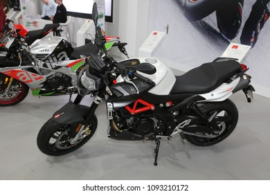 ISTANBUL, TURKEY - FEBRUARY 25, 2018: Aprilia Shiver 900 on display at Motobike Istanbul in Istanbul Exhibition Center