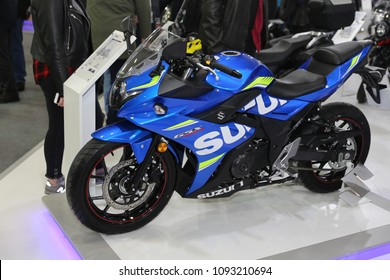 ISTANBUL, TURKEY - FEBRUARY 25, 2018: Suzuki GSX-R250 on display at Motobike Istanbul in Istanbul Exhibition Center