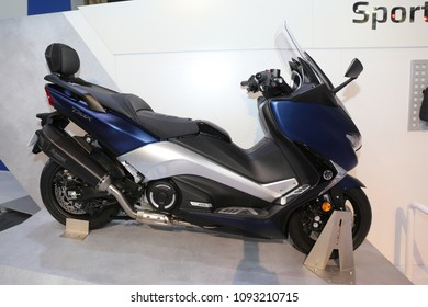 ISTANBUL, TURKEY - FEBRUARY 25, 2018: Yamaha TMAX on display at Motobike Istanbul in Istanbul Exhibition Center