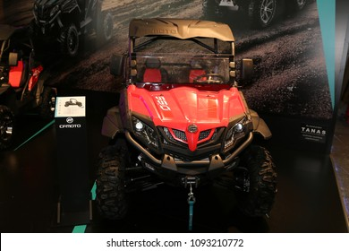 ISTANBUL, TURKEY - FEBRUARY 25, 2018: CFMoto 550 ATV on display at Motobike Istanbul in Istanbul Exhibition Center