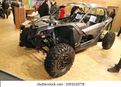 ISTANBUL, TURKEY - FEBRUARY 25, 2018: Can-Am Maverick X3 Turbo on display at Motobike Istanbul in Istanbul Exhibition Center