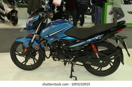 ISTANBUL, TURKEY - FEBRUARY 25, 2018: Hero Lanitor 125 on display at Motobike Istanbul in Istanbul Exhibition Center