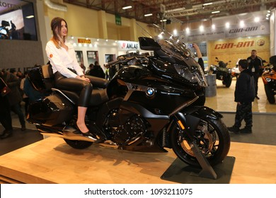 ISTANBUL, TURKEY - FEBRUARY 25, 2018: BMW K1600B on display at Motobike Istanbul in Istanbul Exhibition Center