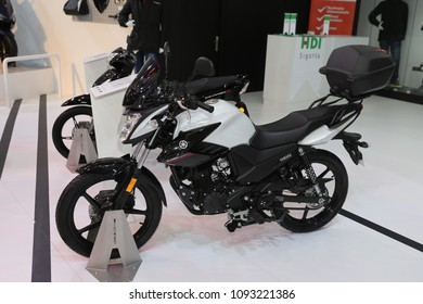 ISTANBUL, TURKEY - FEBRUARY 25, 2018: Yamaha YS125 on display at Motobike Istanbul in Istanbul Exhibition Center