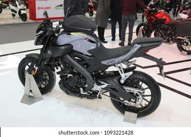 ISTANBUL, TURKEY - FEBRUARY 25, 2018: Yamaha MT-125 on display at Motobike Istanbul in Istanbul Exhibition Center