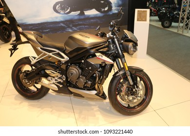 ISTANBUL, TURKEY - FEBRUARY 25, 2018: Triumph Street Triple RS on display at Motobike Istanbul in Istanbul Exhibition Center