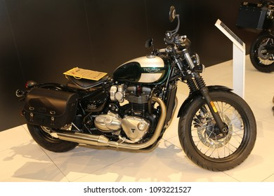 ISTANBUL, TURKEY - FEBRUARY 25, 2018: Triumph Motorcycle on display at Motobike Istanbul in Istanbul Exhibition Center