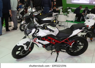 ISTANBUL, TURKEY - FEBRUARY 25, 2018: Benelli 150 on display at Motobike Istanbul in Istanbul Exhibition Center